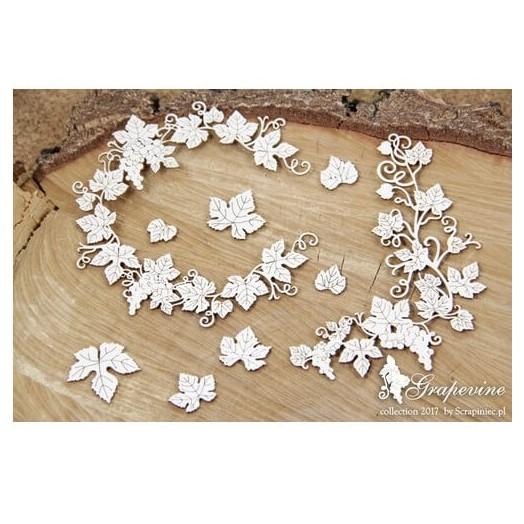 Διακοσμητικό Chipboard Grapevine, wreath & leaves,10 τεμ