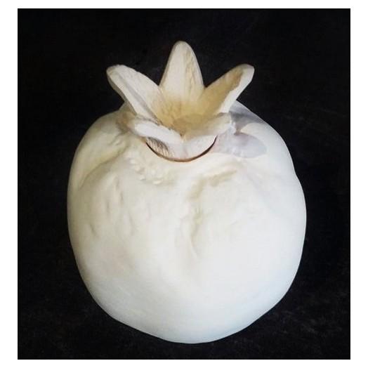 Ρόδι κεραμικό λευκό κλειστό 12 cm