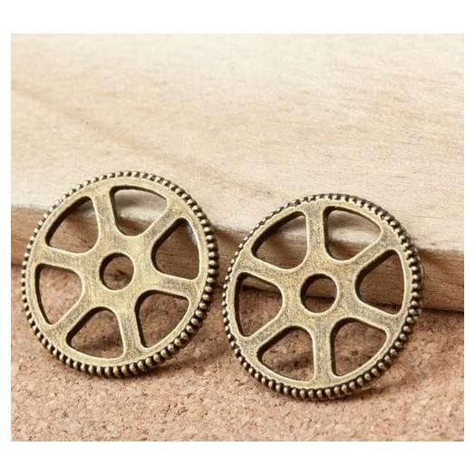 Antique Bronze Metal gear 20mm - σετ 4 τεμ