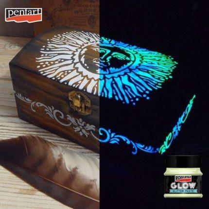 Glow glitter paste (φωσφορίζουσα πάστα) 50 ml, Pentart, Gold