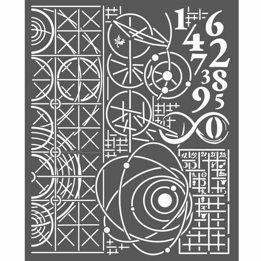 Thick Stencil 20x25cm, Stamperia, Cosmos astronomy and numbers
