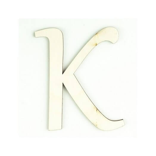 Ξύλινο γράμμα 6cm, πάχος 5mm, Κ