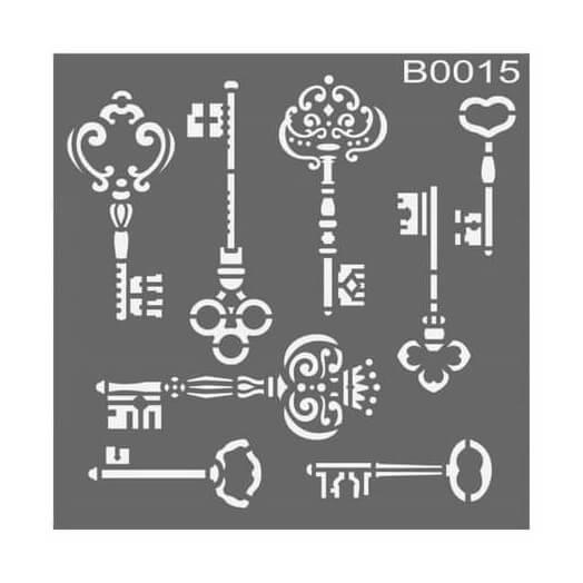 Stencil 30x30cm, Keys