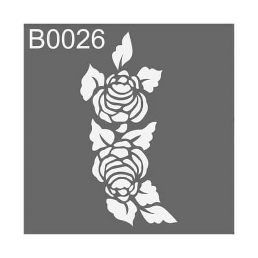 Stencil 30x30cm, Flowers