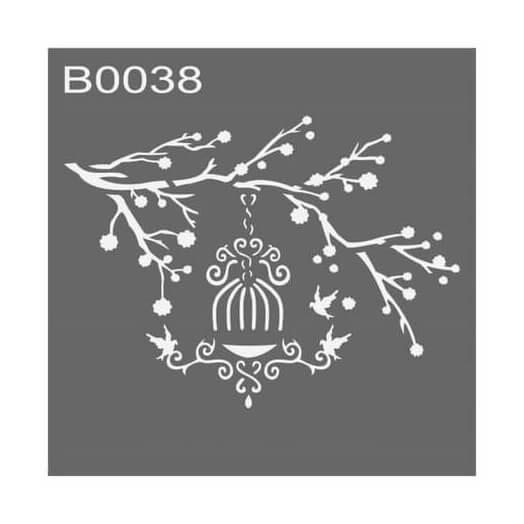 Stencil 30x30cm, Branch & Cage