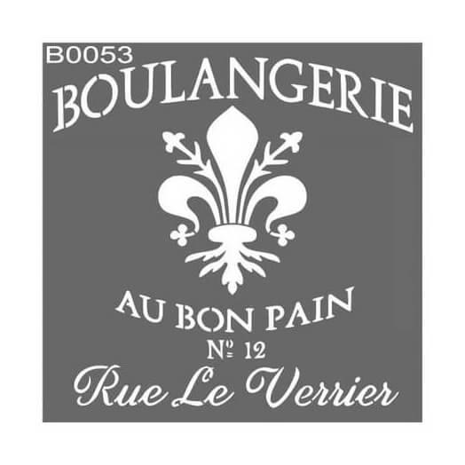 Stencil 30x30cm, Boulangerie