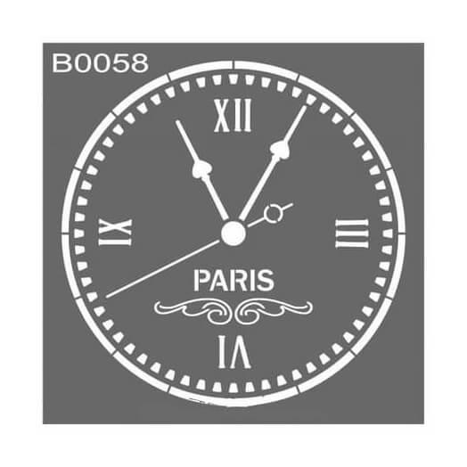 Stencil 30x30cm, Paris Clock