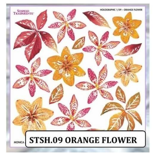 Τυπωμένo φύλλο-Ζελατίνη για Sospeso Ιριδίζον , Holographic orange flower