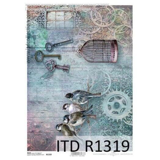 Ριζόχαρτο ITD, 21x29cm, Πουλάκια και κλουβί, R1319