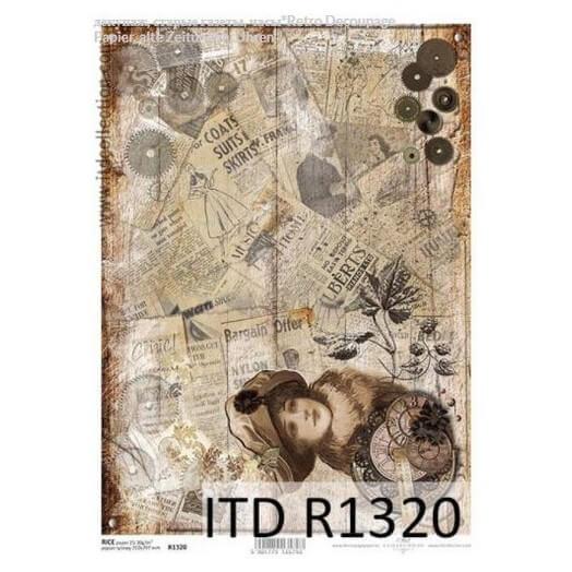 Ριζόχαρτο ITD, 21x29cm, Vintage γυναίκα και εφημερίδες, R1320
