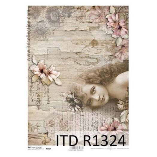 Ριζόχαρτο ITD, 21x29cm, Κορίτσι και λουλούδια R1324