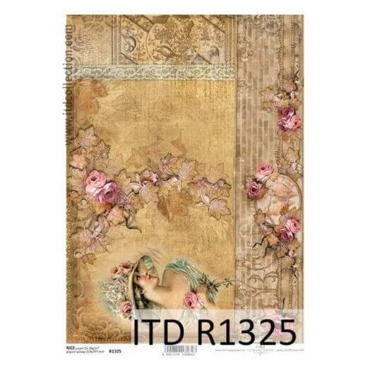 Ριζόχαρτο ITD, 21x29cm, Γυναίκα και παλιός τοίχος, R1325