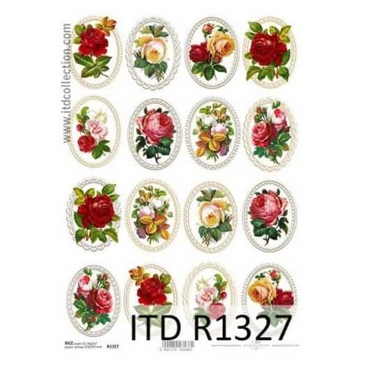 Ριζόχαρτο ITD, 21x29cm, Κορνίζες με κόκκινα λουλούδια, R1327