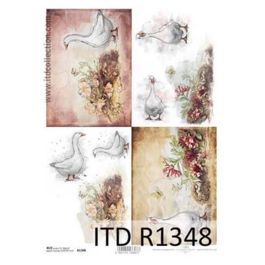 Ριζόχαρτο ITD, 21x29cm, Πάπιες και λουλούδια, R1348