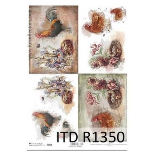 Ριζόχαρτο ITD, 21x29cm, Πετεινός και κότες, R1350