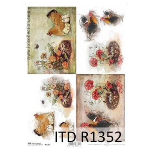 Ριζόχαρτο ITD, 21x29cm, Κοτούλες και φωλιές, R1352