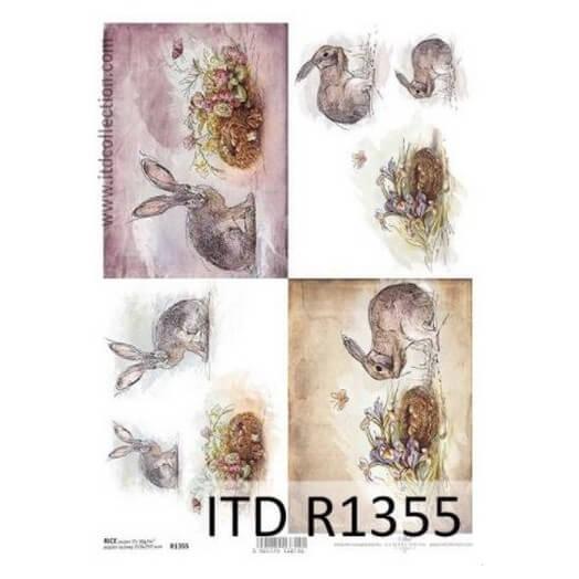 Ριζόχαρτο ITD, 21x29cm, Λαγουδάκια, R1355