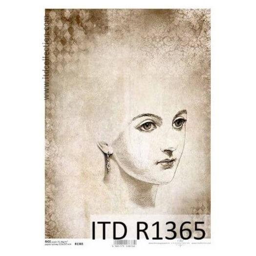Ριζόχαρτο ITD, 21x29cm, Σκίτσο γυναίκας, R1365