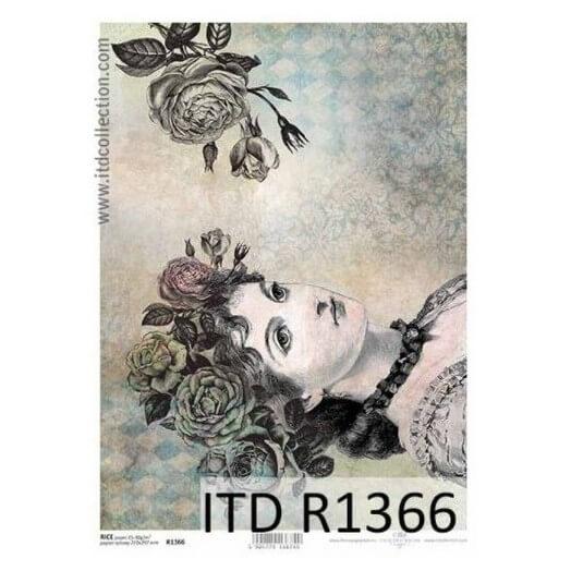 Ριζόχαρτο ITD, 21x29cm, Πορτρέτο γυναίκας, R1366