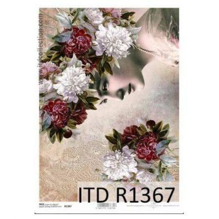 Ριζόχαρτο ITD, 21x29cm, Γυναίκα με λουλούδια, R1367
