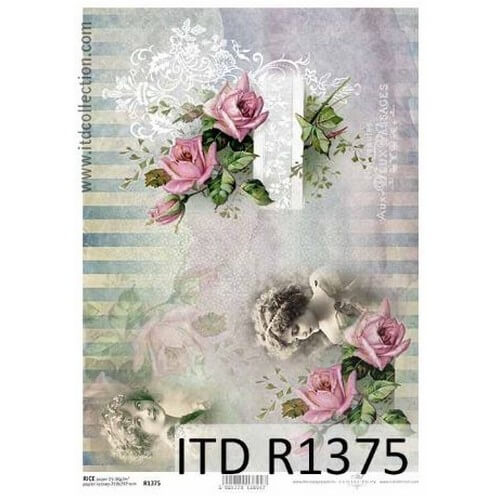 Ριζόχαρτο ITD, Λουλούδια και κοπέλες, 21x29cm, R1375