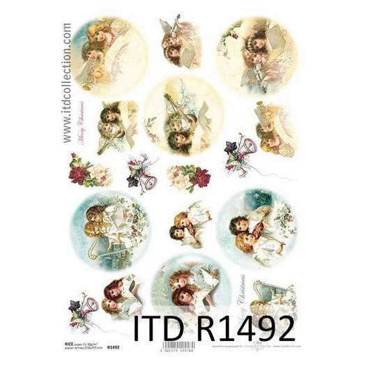 Ριζόχαρτο ITD Χριστουγεννιάτικο, Αγγελάκια, 21x29cm, R1492
