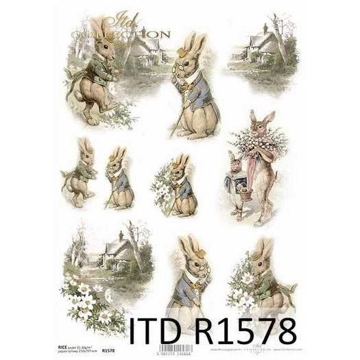 Ριζόχαρτο πασχαλινό ITD, Λαγοί, 21x29cm, R1578