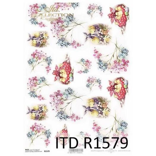 Ριζόχαρτο πασχαλινό ITD, Πασχαλιές και κοτοπουλάκια, 21x29cm, R1579