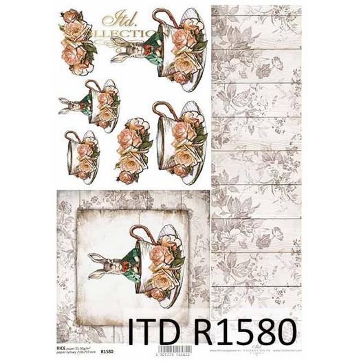 Ριζόχαρτο πασχαλινό ITD Λαγός σε κούπα, 21x29cm, R1580