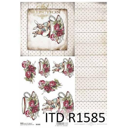 Ριζόχαρτο πασχαλινό ITD, Λαγοί και κούπες, 21x29cm, R1585
