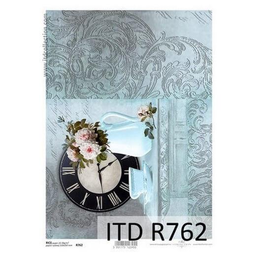 Ριζόχαρτο ITD, 21x29cm, Ρολόι και λουλούδια, R762