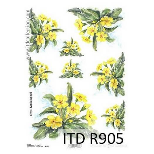 Ριζόχαρτο ITD, 21x29cm, Κίτρινα λουλούδια, R905