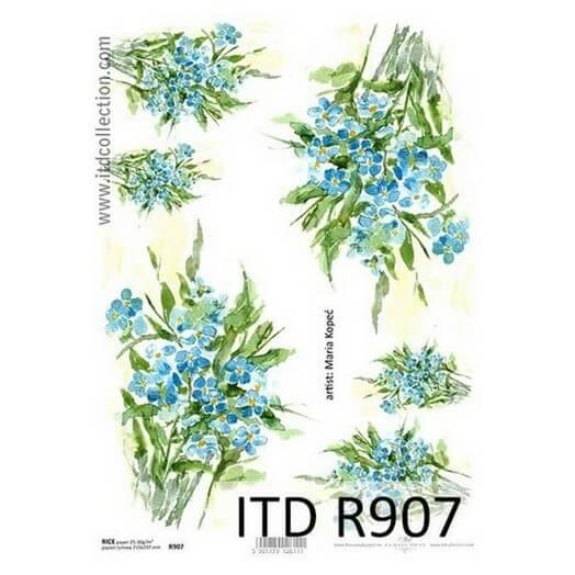 Ριζόχαρτο ITD, 21x29cm, Γαλάζια λουλούδια R907
