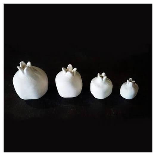 Ρόδι κεραμικό λευκό mini 4, xY5 cm