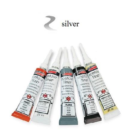 Contour Liner Pentart 20ml - Silver Metallic