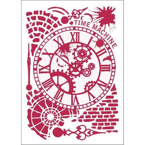 Stencil 21x29,7cm, Time Machine, Stamperia
