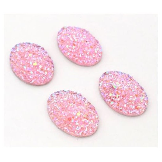 Natural Stone Resin Pink Glitter 18x25mm - 4 τεμ