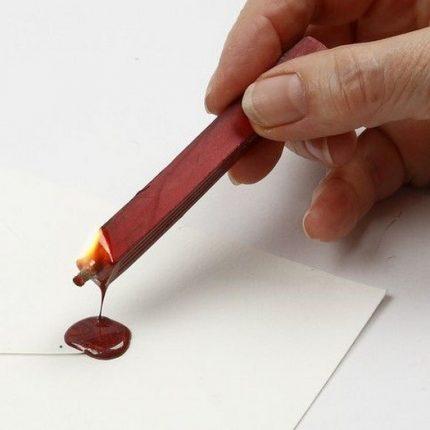 Σετ βουλοκέρι (σφραγίδα +κερί), κόκκινο