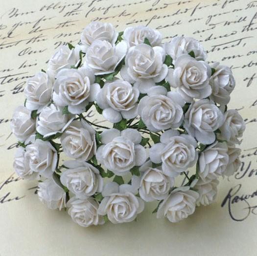 Λουλούδια, WHITE OPEN ROSES, 20mm