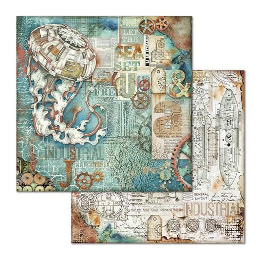 Χαρτί scrapbooking διπλής όψης 30x30cm Stamperia, Sea World Medusa