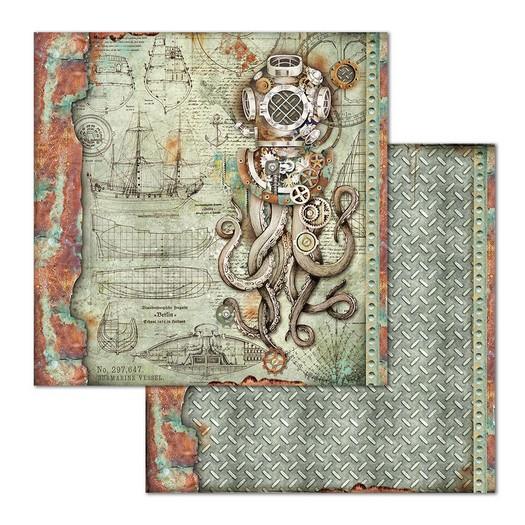 Χαρτί scrapbooking διπλής όψης 30x30cm Stamperia, Sea World Octupus