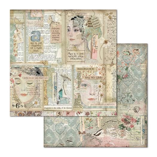 Χαρτί scrapbooking διπλής όψης 30x30cm Stamperia, Faces and Scripts