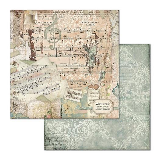 Χαρτί scrapbooking διπλής όψης 30x30cm Stamperia, Music