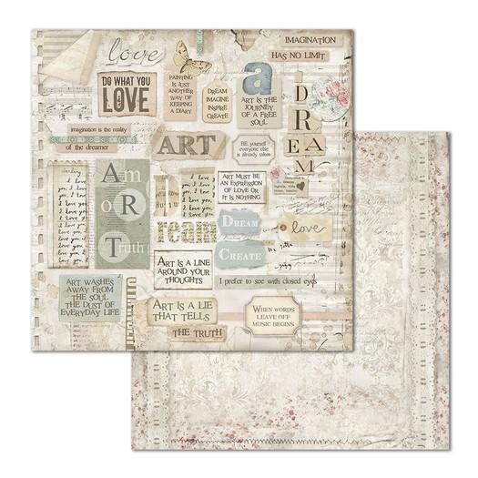 Χαρτί scrapbooking διπλής όψης 30x30cm Stamperia, Dream writings