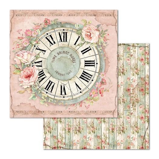 Χαρτί scrapbooking διπλής όψης 30x30cm Stamperia, Clock