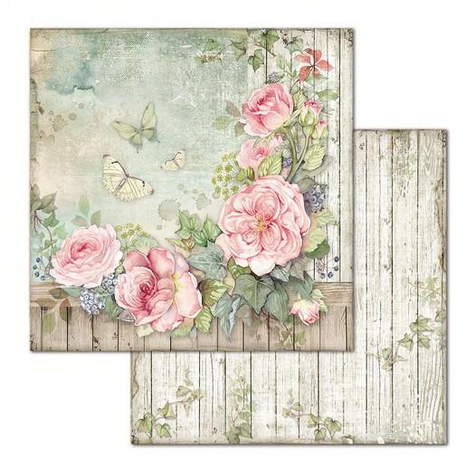 Χαρτί scrapbooking διπλής όψης 30x30cm Stamperia, Fence with rose
