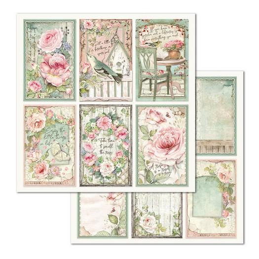 Χαρτί scrapbooking διπλής όψης 30x30cm Stamperia, Frames House of Roses