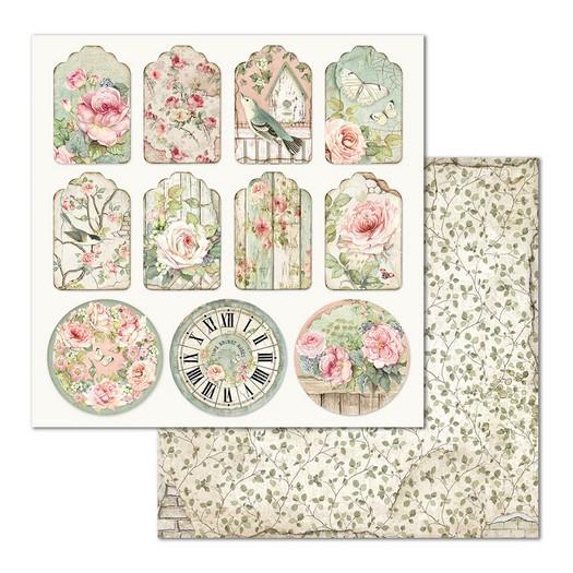 Χαρτί scrapbooking διπλής όψης 30x30cm Stamperia, Tag House of Roses