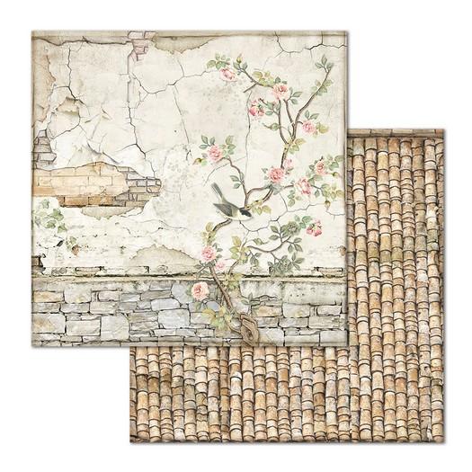 Χαρτί scrapbooking διπλής όψης 30x30cm Stamperia, Small Bricks with tree