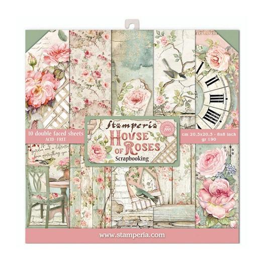 Χαρτιά scrapbooking 10τεμ Stamperia 20,3×20,3cm, House of Roses